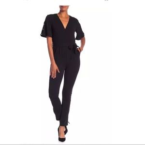 Spense Surplice Faux Pearl Sleeve Black Jumpsuit
